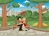 Young romantic couple passionately kissing at the park bench
