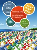 Colorful template for advertising brochure of a beach with umbrellas