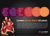 Orange and purple template for advertising brochure with business people