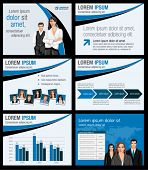 Blue and black business Template. Vector illustration.