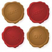 foto of wax seal  - Vector red and brown wax seals - JPG