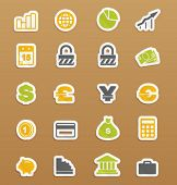 Vector finance icons on stickers