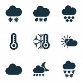 Climate Icons Set With Heavy Sleet Night, Winter, Snowfall And Other Temperature  Elements. Isolated poster