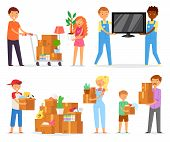 People Moving Vector Family With Kids Packing Boxes Or Packages To Move To New Apartment Illustratio poster