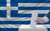 Man Voting On Elections In Greece