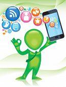 TELÉFONO-man.Social-Media.The desarrollo de comunicaciones globales