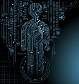 image of binary code  - abstract  vector background with high tech circuit board - JPG