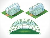 color picture of different greenhouses. drawing in the isometry