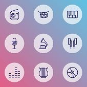 Audio Icons Line Style Set With Harp, Gramophone, Vinyl And Other Amplifier  Elements. Isolated  Ill poster