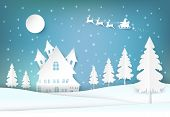 Winter Holiday Santa And Snowy Christmas Season Paper Art, Paper Craft Style Illustration Background poster