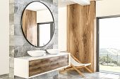 White Double Sink On Wood Counter With A Round Mirror Hanging Above It In A Luxury Marble And Wooden poster
