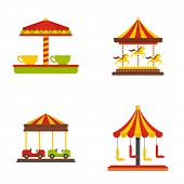 Carousel Carnival Horse Icons Set. Flat Illustration Of 4 Carousel Carnival Horse Icons Isolated On  poster