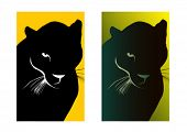 Black puma, simple and version with gradient. Vector illustration.