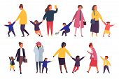 People With Kids. Busy Parents With Naughty Children. Vector Illustration. poster