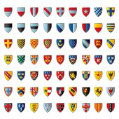European crests isolated on white. Vector illustration.