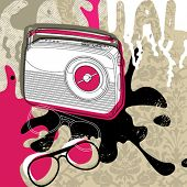 Modern background with retro radio. Vector illustration.