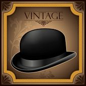 Vintage banner with bowler hat. Vector illustration.