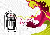 picture of jukebox  - Designed stylized banner with jukebox - JPG