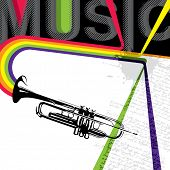 Designed music banner with trumpet. Vector illustration.
