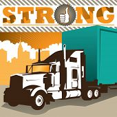 Illustrated background with big truck. Vector illustration.