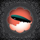 Vintage floral background with zeppelin. Vector illustration.