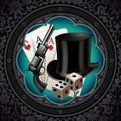 Gambling vintage background with gun and hat. Vector illustration.