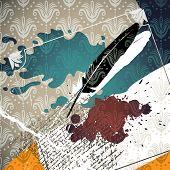 Conceptual artistic vintage background with splash. Vector illustration.
