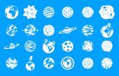 Universe Planet Icon Set. Simple Set Of Universe Planet Icons For Web Design Isolated On Blue Backgr poster