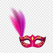 Carnival Mask Icon. Realistic Illustration Of Carnival Mask Icon For On Transparent Background poster