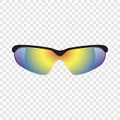 Sport Glasses Mockup. Realistic Illustration Of Sport Glasses Mockup For On Transparent Background poster