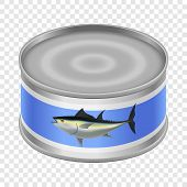 Canned Tuna Mockup. Realistic Illustration Of Canned Tuna Mockup For On Transparent Background poster