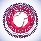 Illustrated modish baseball emblem. Vector illustration.