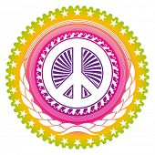 image of woodstock  - Modish emblem with peace symbol - JPG