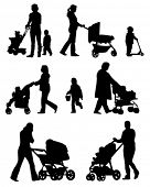 Silhouettes of the walkings mothers with baby strollers.