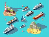 Isometric Ships. Boats And Sailing Vessels, Ocean Tropical Island With Lighthouse And Beach. 3d Vect poster