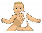 Cleaning baby face with wet wipe.