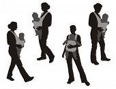 image of siluet  - Walking women with baby carrier - JPG