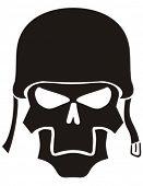 Skull in a helmet.