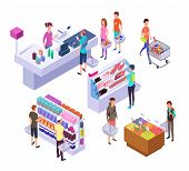 Isometric Grocery Store. 3d Supermarket Interior With Shopping People Customers And Products. Retail poster