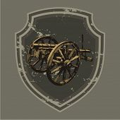 Vector illustration of ancient cannon. Framed by a shield.