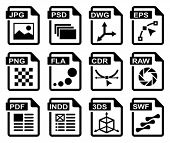 File type icons: graphic design set. All white areas are cut away from icons and black areas merged.
