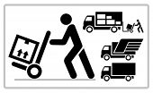 Delivery man pushing a cargo hand truck, vector icon.
