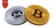 Bitcoin. Monero. 3d Isometric Physical Coins. Digital Currency. Cryptocurrency. Silver Coin With Mon poster