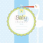 stock photo of baby-boy  - Baby shower greeting card - JPG