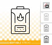 Gas Boiler Thin Line Icon. Outline Sign Of Water Heater. Climatic Equipment Linear Pictogram With Di poster