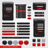 Red and black web vector collection
