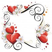 Valentines Day frame with Hearts and flowers, vector illustration