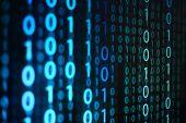 Computer Data Matrix. Vertical Digital Binary Code Moving Motion Downward. Light Up Blue One And Zer poster