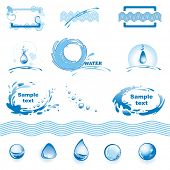 Set of water design elements. (vector illustration)