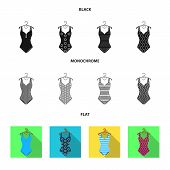 Different Kinds Of Swimsuits. Swimsuits Set Collection Icons In Black, Flat, Monochrome Style Vector poster